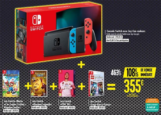 Console Nintendo Switch + 4 jeux à 355 € au lieu de 463,15 € chez Carrefour