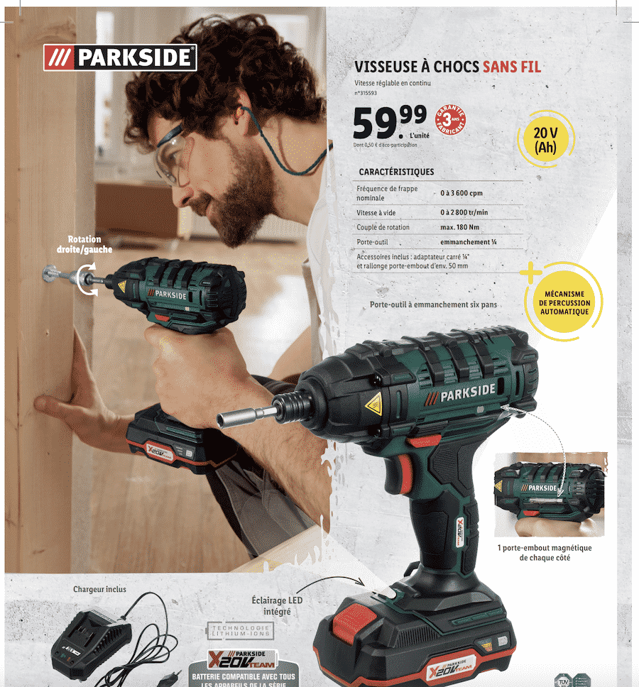 Visseuse à chocs sans fil Parkside : votre outil à 59,99 euros chez LIDL