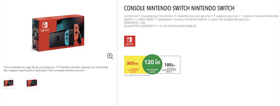 sur intermarche.com - le bon plan Intermarche Nintendo Switch