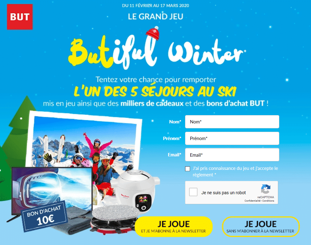"Jeu BUT ""Butiful Winter"" sur jeux.but.fr : plus de 500'000 lots à remporter"
