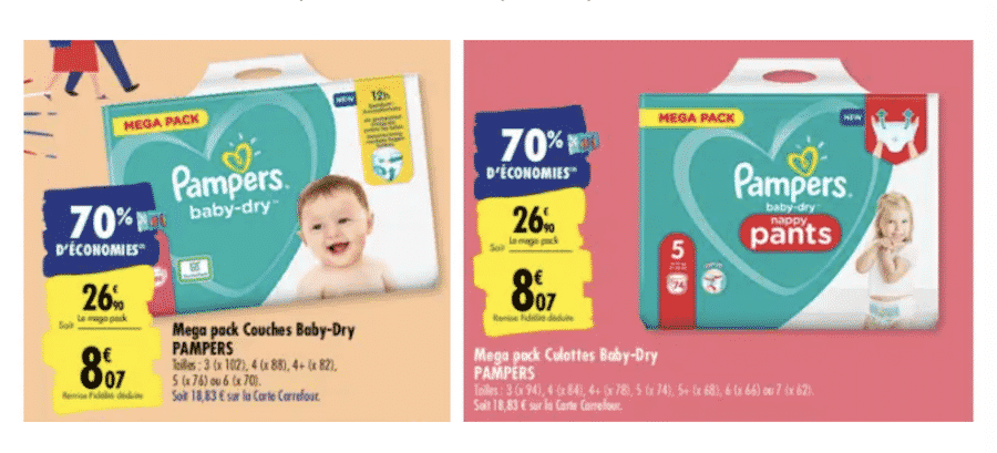 promo couches pampers carrefour : paquet