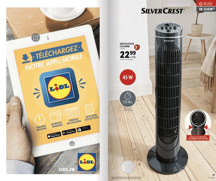 Lidl : ventilateur colonne Silvercrest pas cher à 22,99 € sur lidl.fr