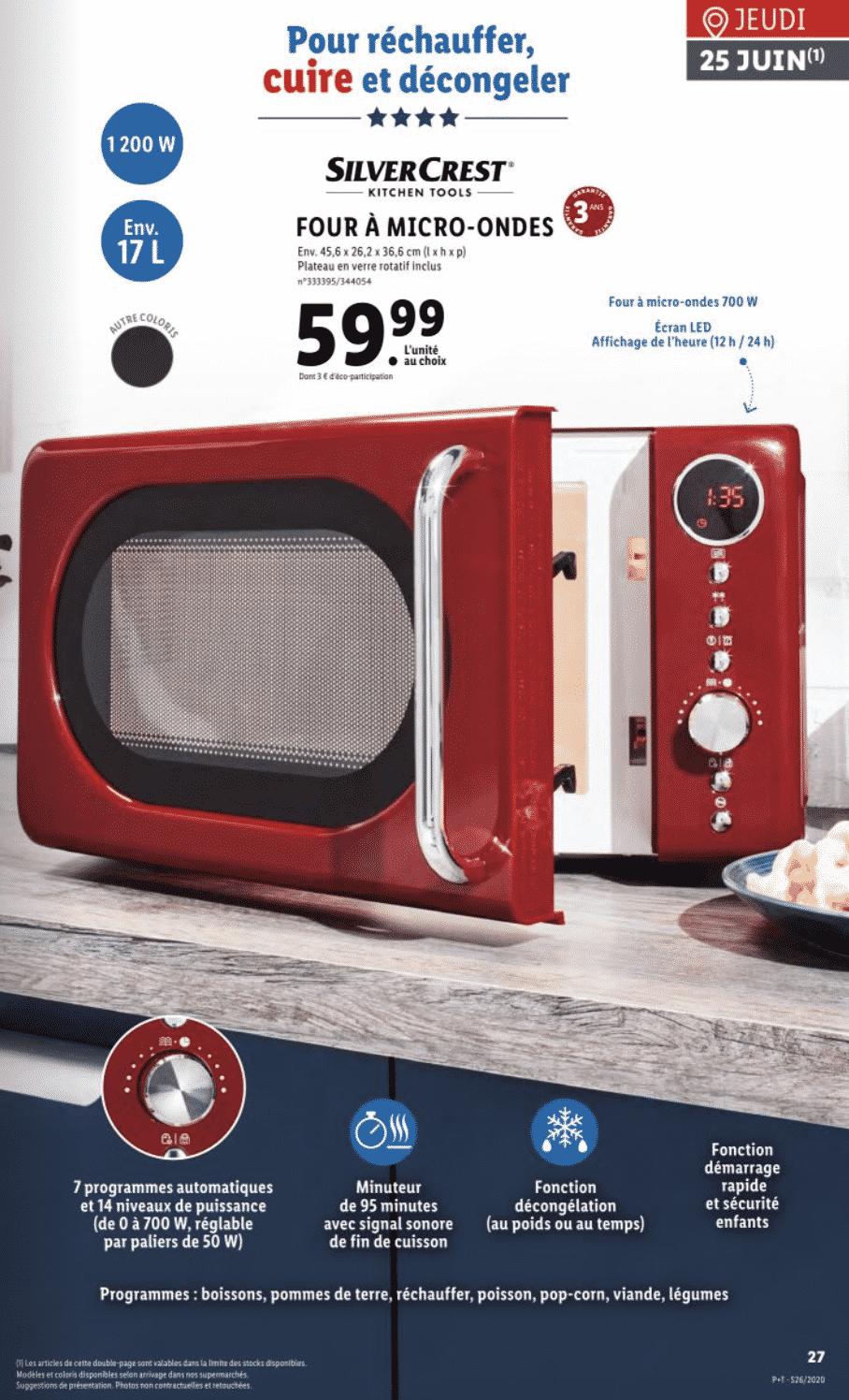 Four à micro ondes LIDL à 59,99 euros sur lidl.fr