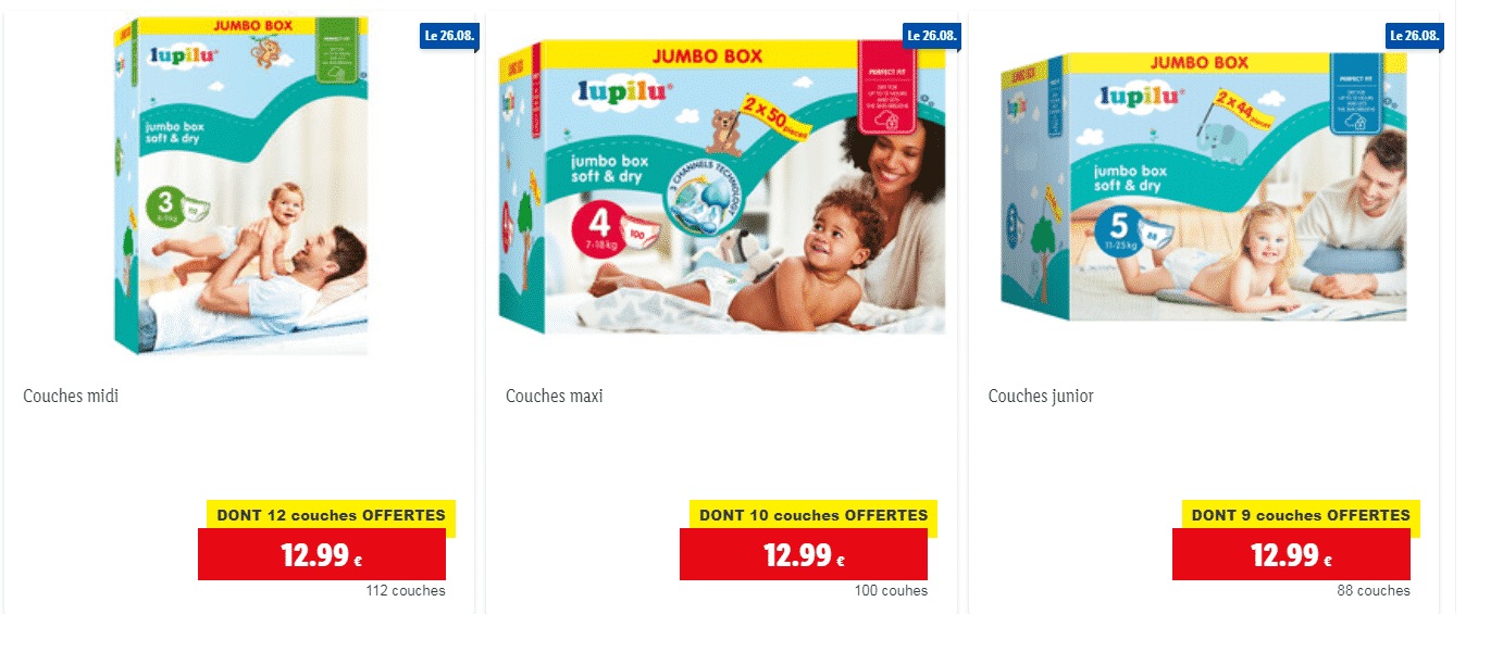 Couches LIDL LUPILU – plus de 88 couches LUPILU à 12.99 €!