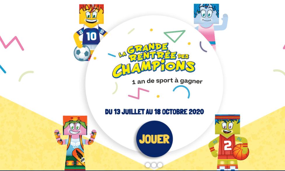 Jeu Choco Barre Pitch «La grande rentrée des champions 2020» : 1 an de sport à gagner
