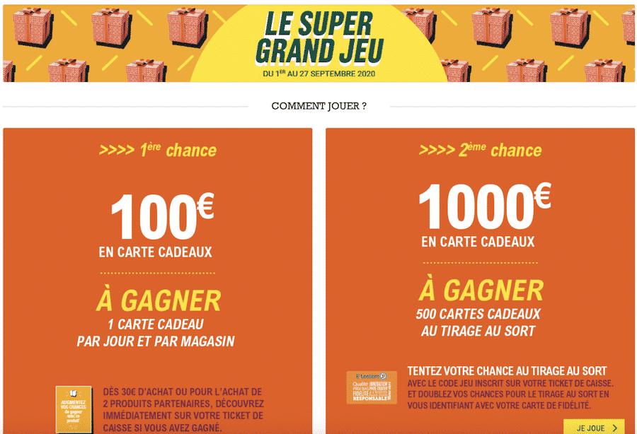 SuperGrand jeu Leclerc sur www.supergrand.jeu.leclerc avec 1000€ en cartes cadeaux à gagner