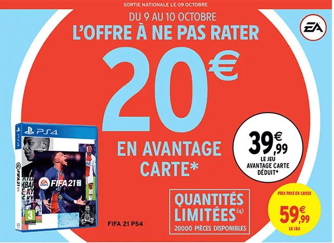 Jeu Fifa 21 Intermarché PS4 à 39.99 € chez Intermarché