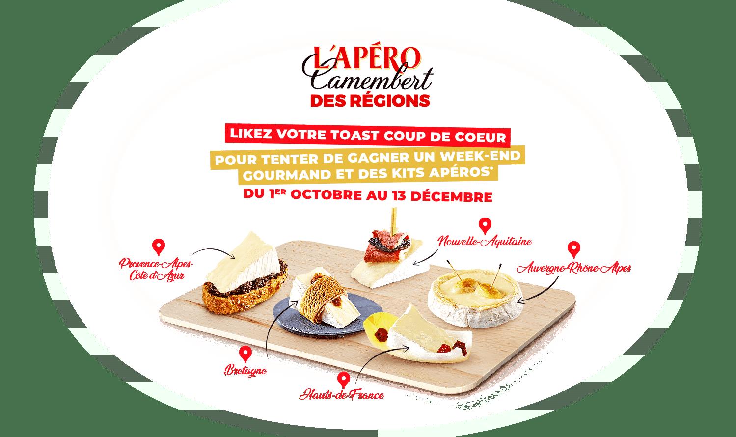 Jeu Apéro Camembert Président sur www.aperoCamembert.fr du 1er octobre au 13 décembre 2020