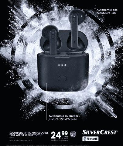 Promo LIDL : ecouteurs bluetooth sans fil à 24.99 €