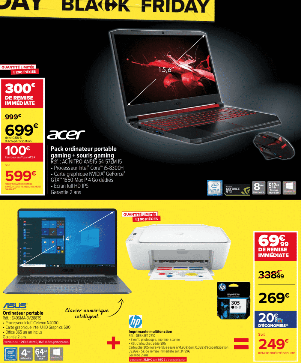 Black Friday PC portable Carrefour Market : jusqu'à 400€ de remise immédiate !