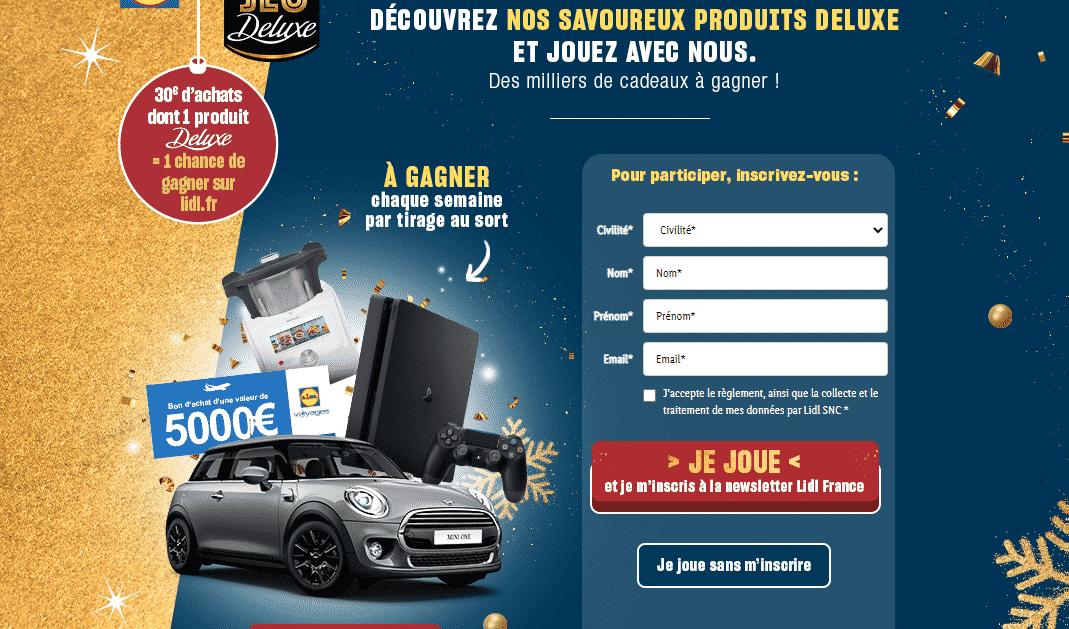 Jeu Deluxe LIDL du 02 au 09 décembre sur www.lidl.fr/jeux-concours
