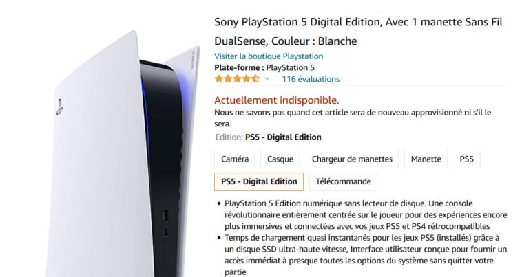 disponibilité playstation 5 amazon
