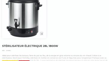 Stérilisateur électrique GIFI en soldes