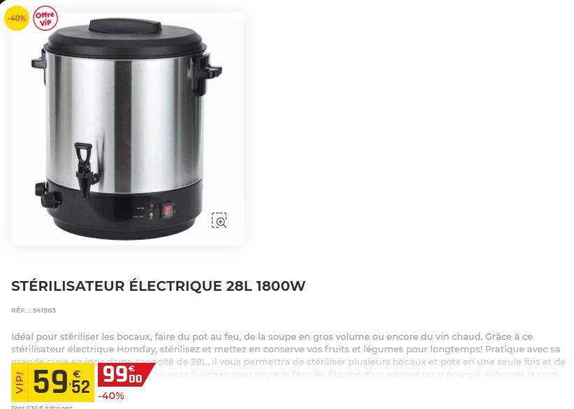 Stérilisateur électrique GIFI en soldes à 59.52€ au lieu de 99€
