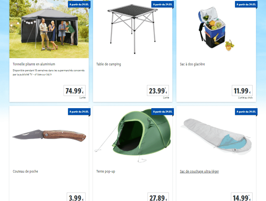 Catalogue LIDL camping