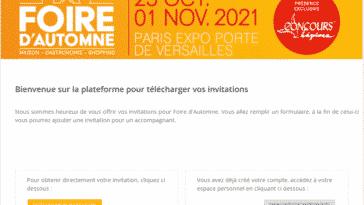 Invitations foire d'automne Paris - Versailles 2021